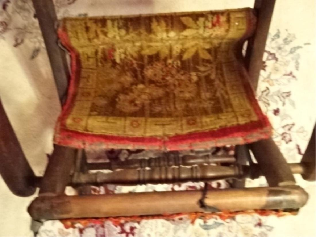 19TH C. VICTORIAN FOLDING CHAIR, FRAME IN VERY GOOD - 5