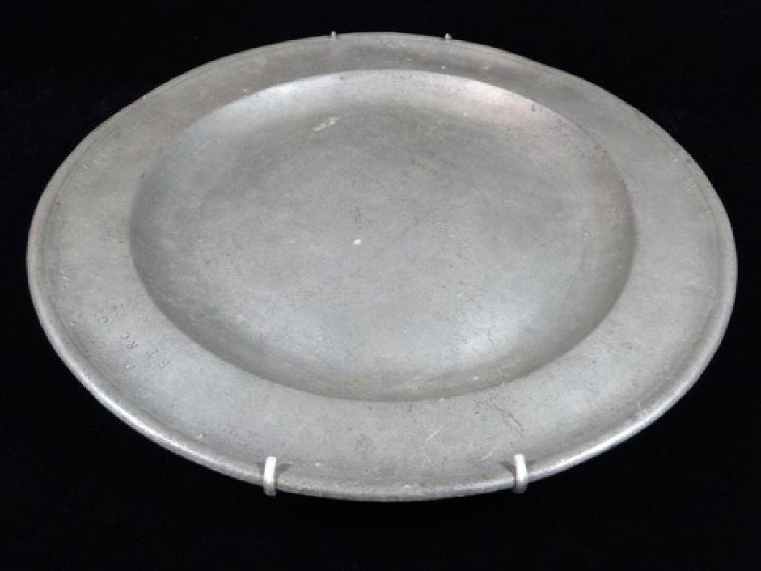 PEWTER PLATTER WITH WALL MOUNT RACK, MARKED, APPROX