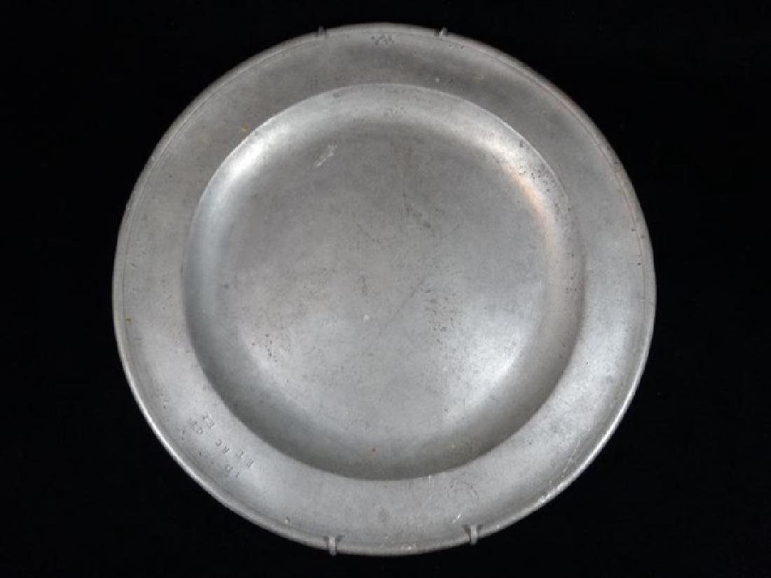 PEWTER PLATTER WITH WALL MOUNT RACK, MARKED, APPROX - 3