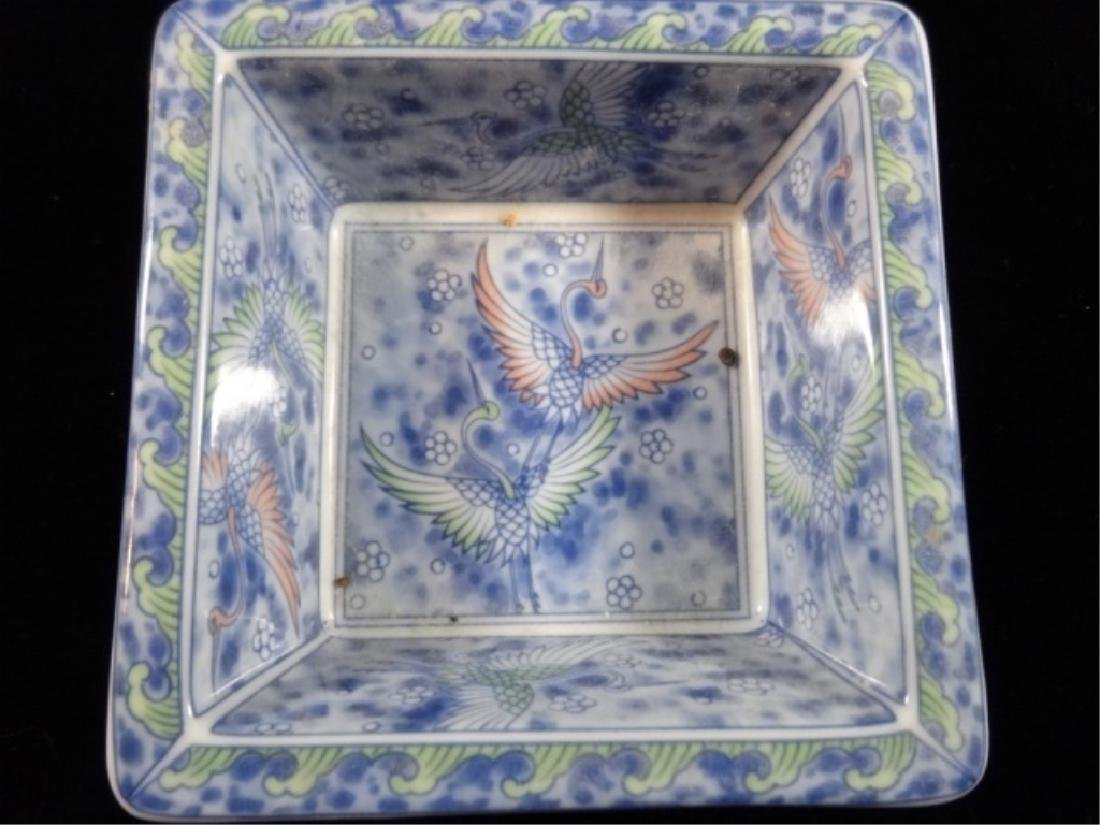 5 PC ASIAN PORCELAIN CRUDITE SERVEWARE, CRANE DESIGN, - 4