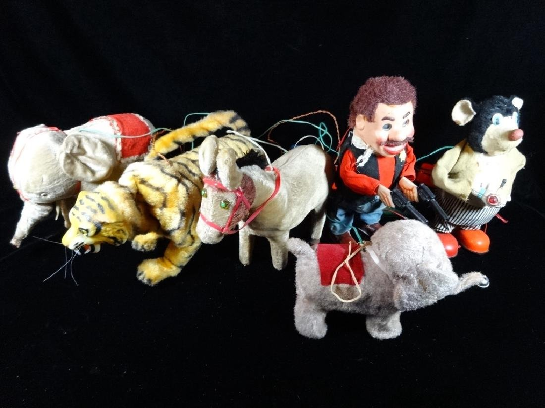 6 VINTAGE MECHANICAL TOYS, INCLUDES 2 ELEPHANTS,