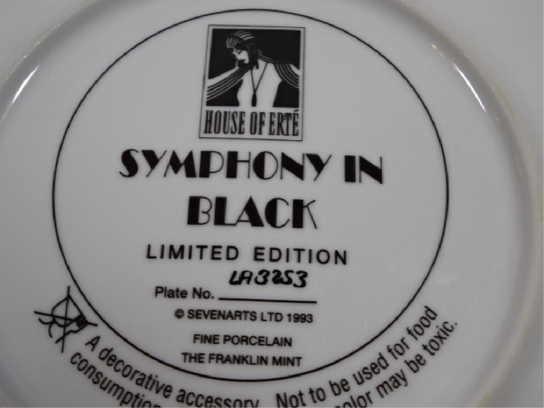 "HOUSE OF ERTE PORCELAIN 8"" PLATE, ""SYMPHONY IN BLACK"" - 6"