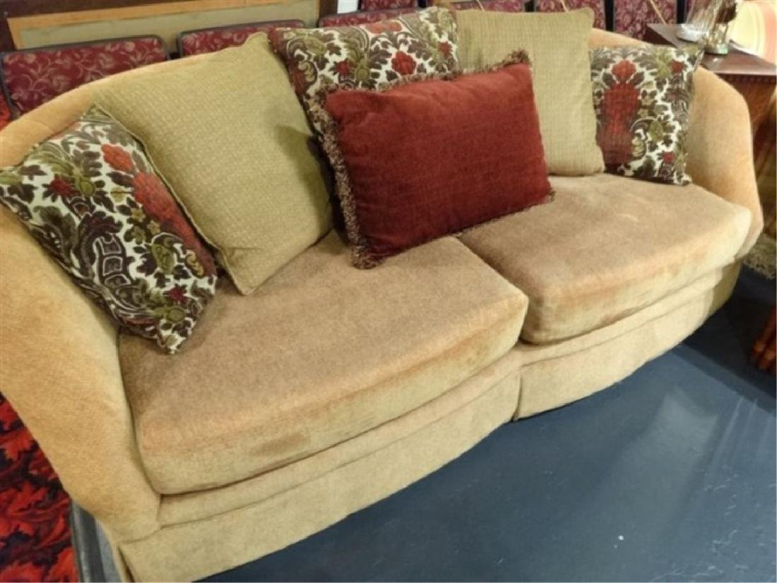 GOLD CHENILLE SOFA WITH CURVED BACK, VERY GOOD GENTLY