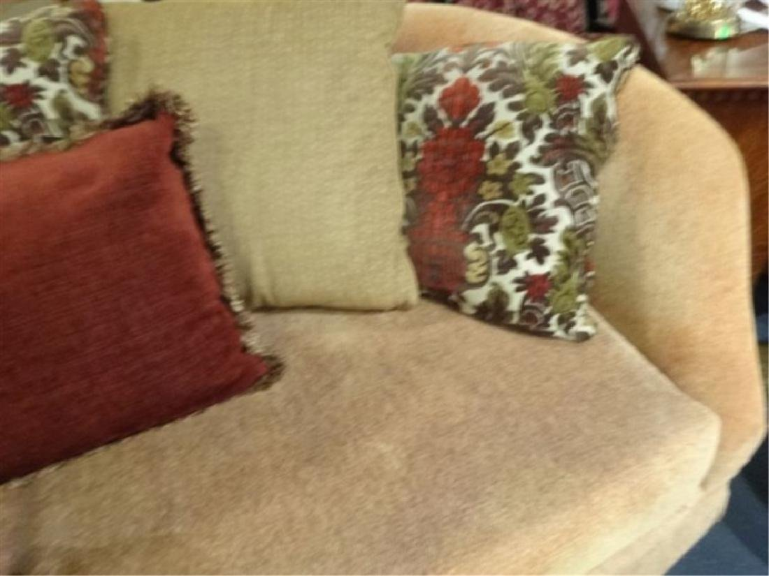 GOLD CHENILLE SOFA WITH CURVED BACK, VERY GOOD GENTLY - 4