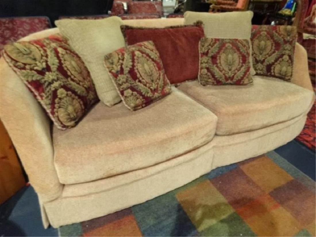 GOLD CHENILLE SOFA WITH CURVED BACK, VERY GOOD GENTLY - 2