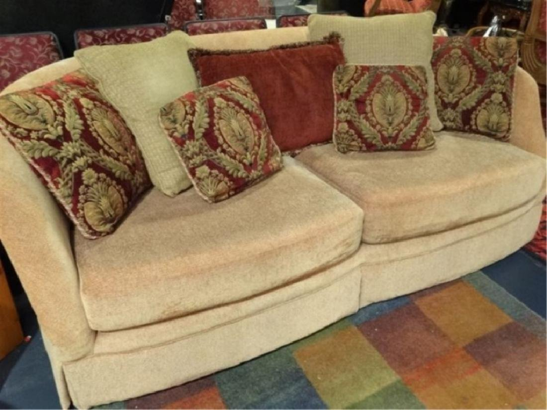 GOLD CHENILLE SOFA WITH CURVED BACK, VERY GOOD GENTLY - 3