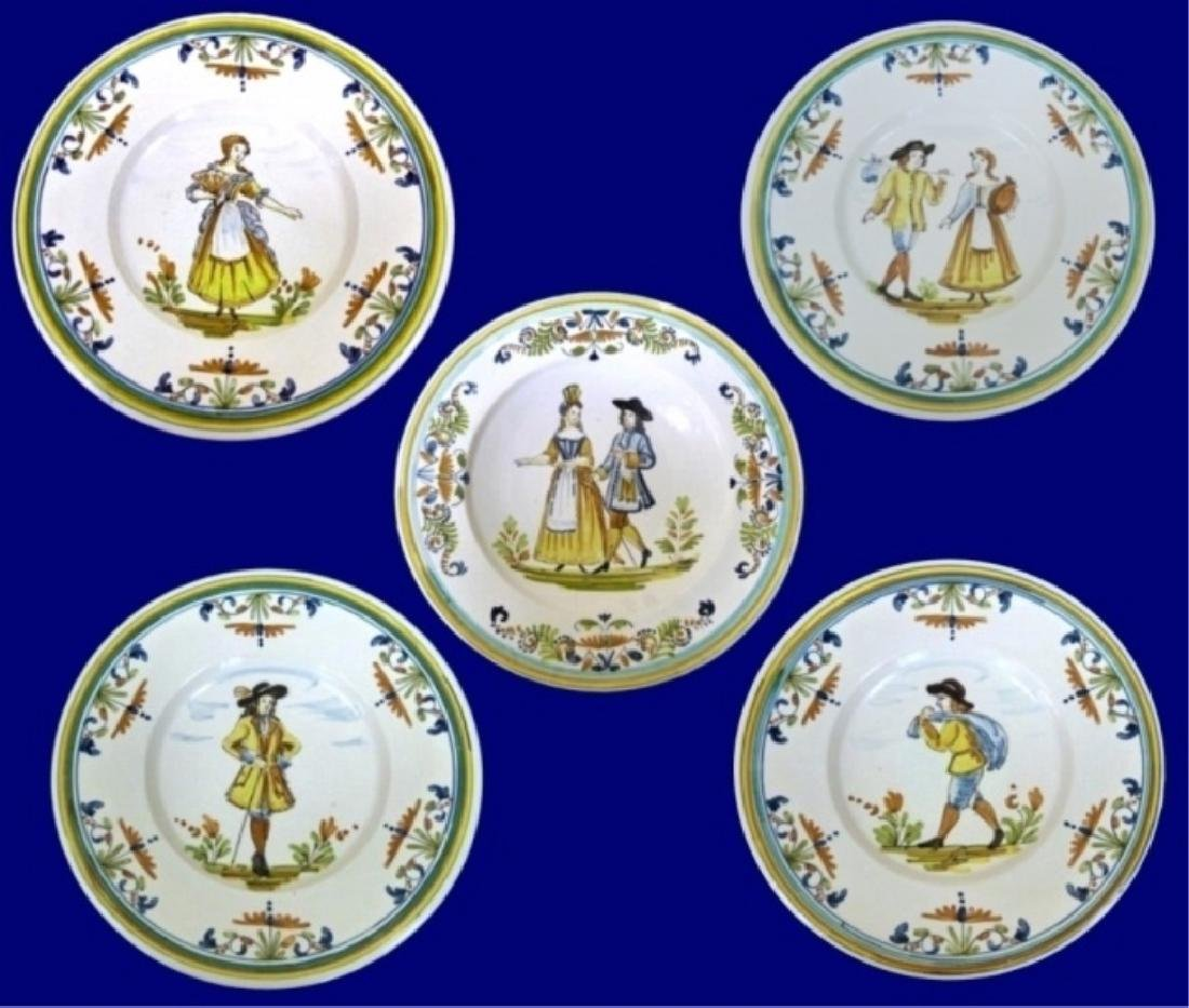 5 LARGE HAND PAINTED CERAMIC CHARGER PLATES, IMAGE OF