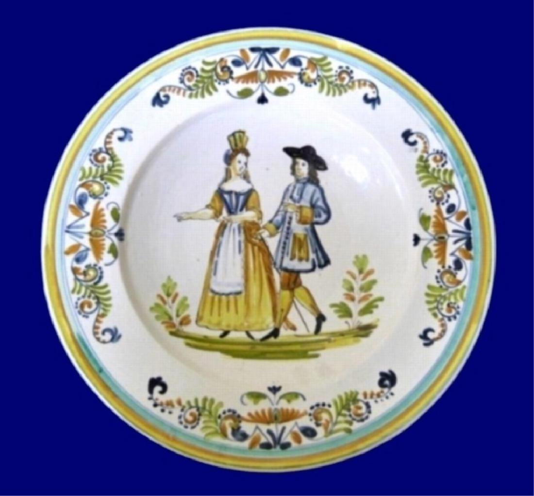 5 LARGE HAND PAINTED CERAMIC CHARGER PLATES, IMAGE OF - 2
