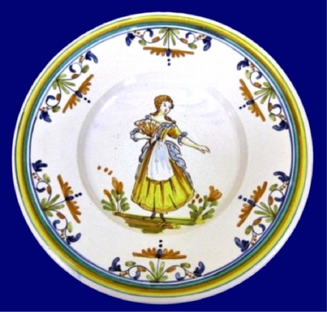 5 LARGE HAND PAINTED CERAMIC CHARGER PLATES, IMAGE OF - 3
