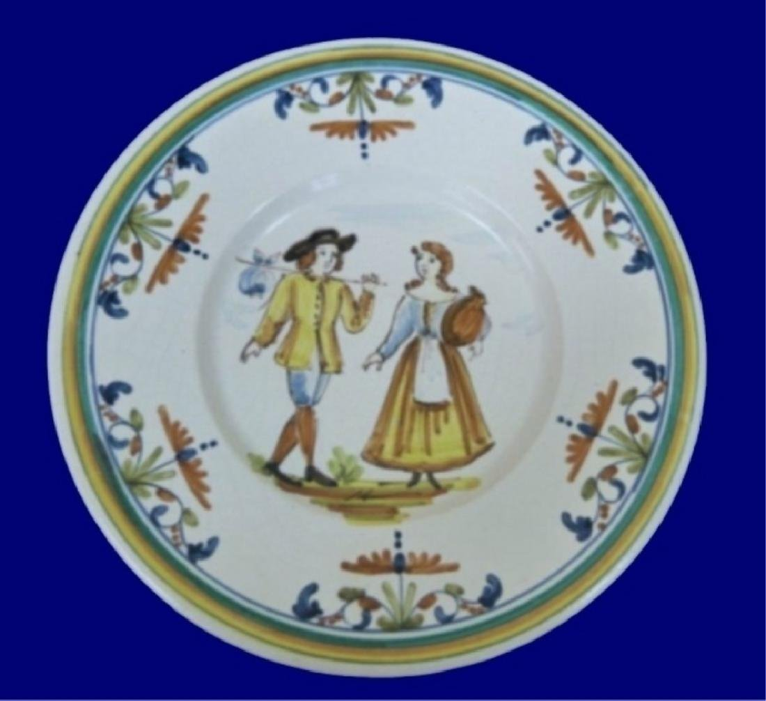 5 LARGE HAND PAINTED CERAMIC CHARGER PLATES, IMAGE OF - 4