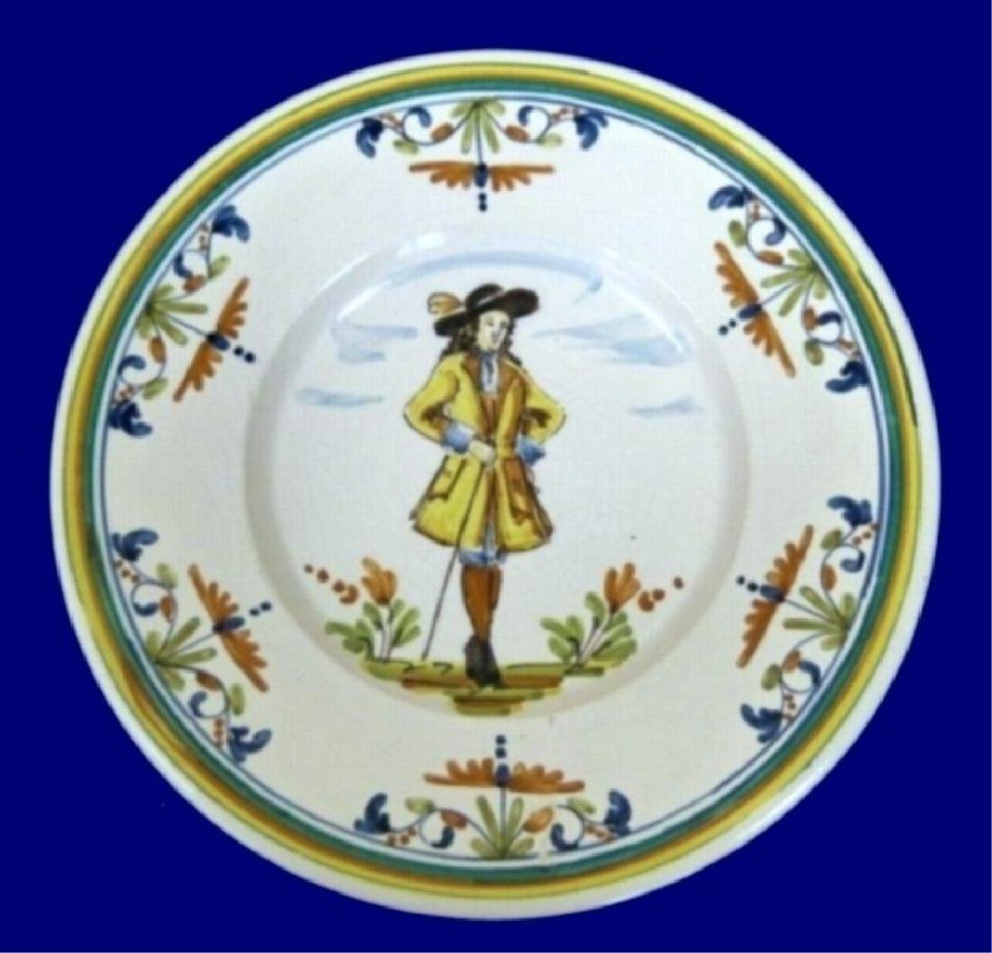 5 LARGE HAND PAINTED CERAMIC CHARGER PLATES, IMAGE OF - 5