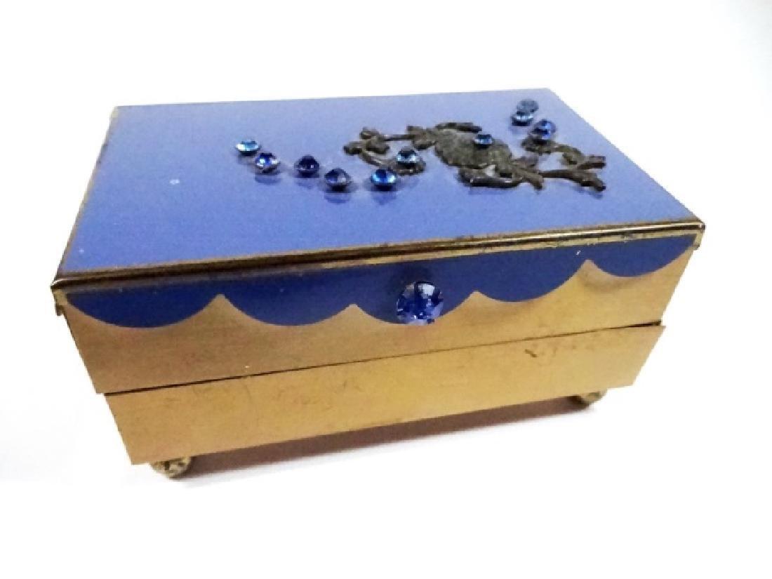 "JEWELRY BOX, BLUE & GOLD FINISH, 2 TIER, APPROX 4"" X"