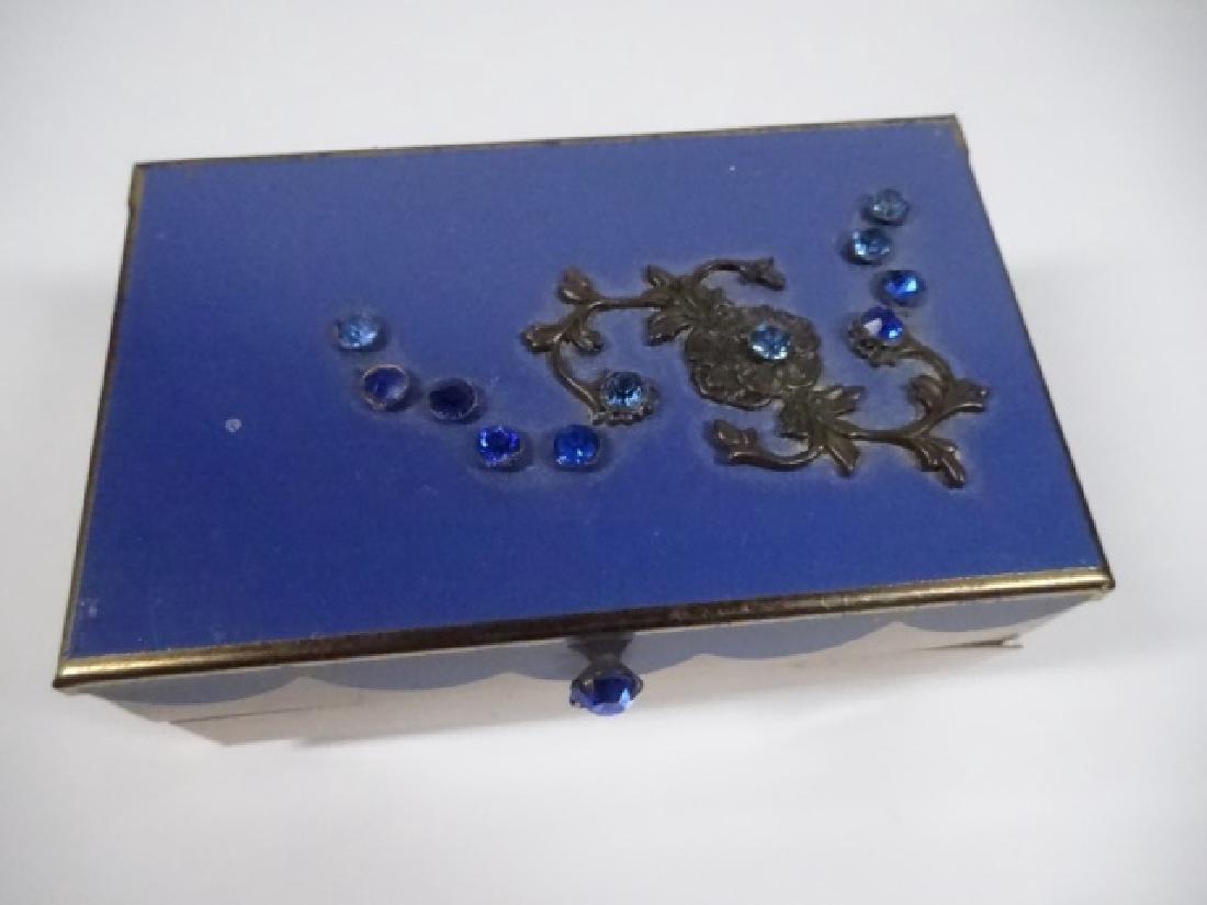 "JEWELRY BOX, BLUE & GOLD FINISH, 2 TIER, APPROX 4"" X - 2"