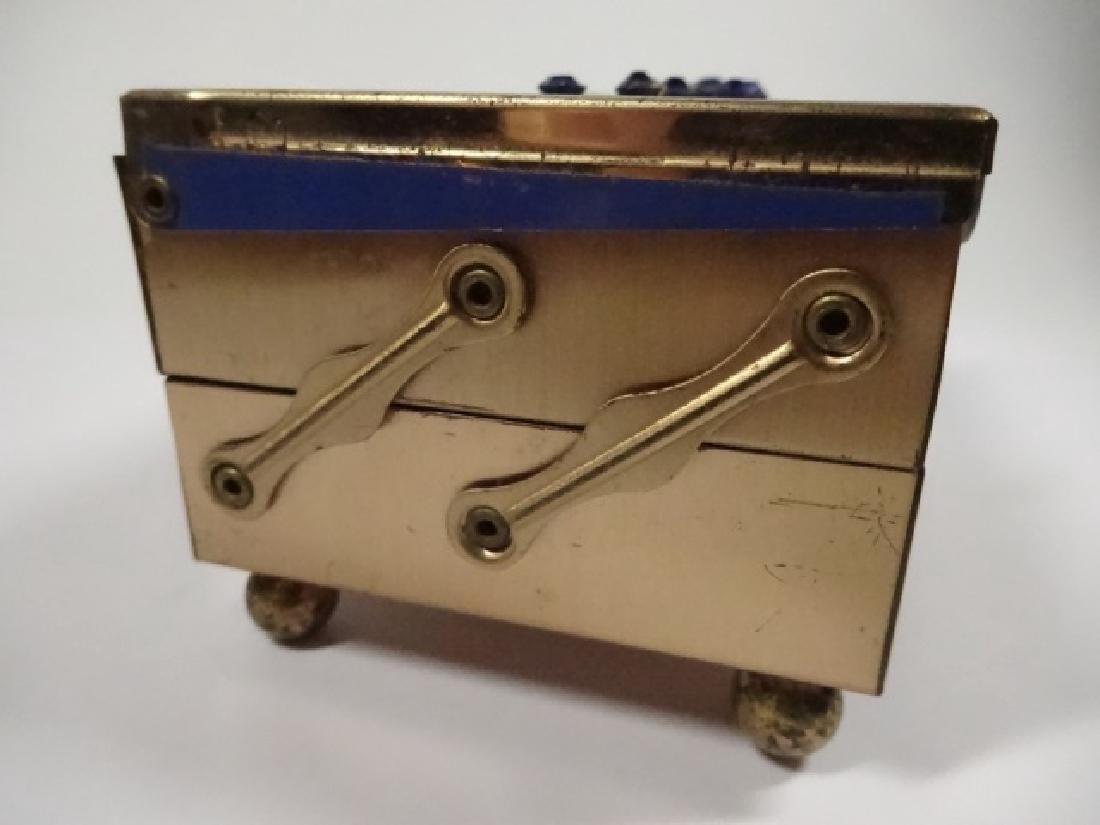 "JEWELRY BOX, BLUE & GOLD FINISH, 2 TIER, APPROX 4"" X - 3"
