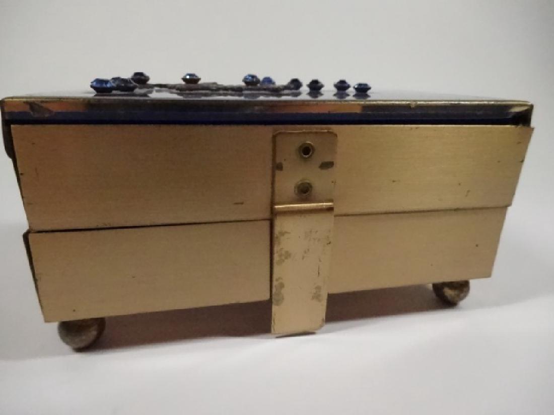 "JEWELRY BOX, BLUE & GOLD FINISH, 2 TIER, APPROX 4"" X - 6"
