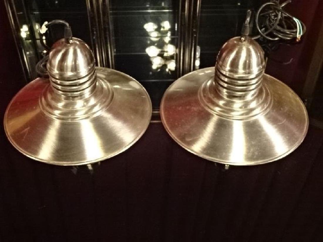 2 NAUTICAL MOTIF ALUMINUM CEILING LIGHTS, VERY GOOD