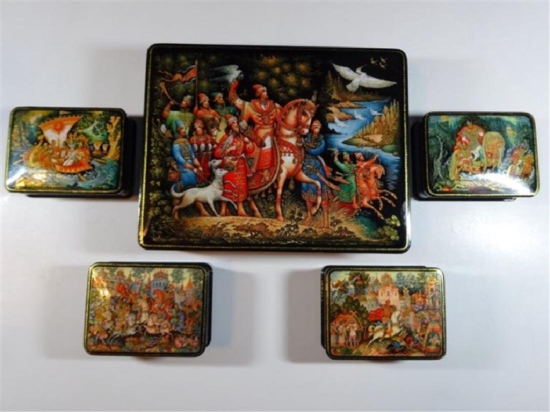 5 PC RUSSIAN HAND PAINTED LACQUERED BOXES, ARTIST
