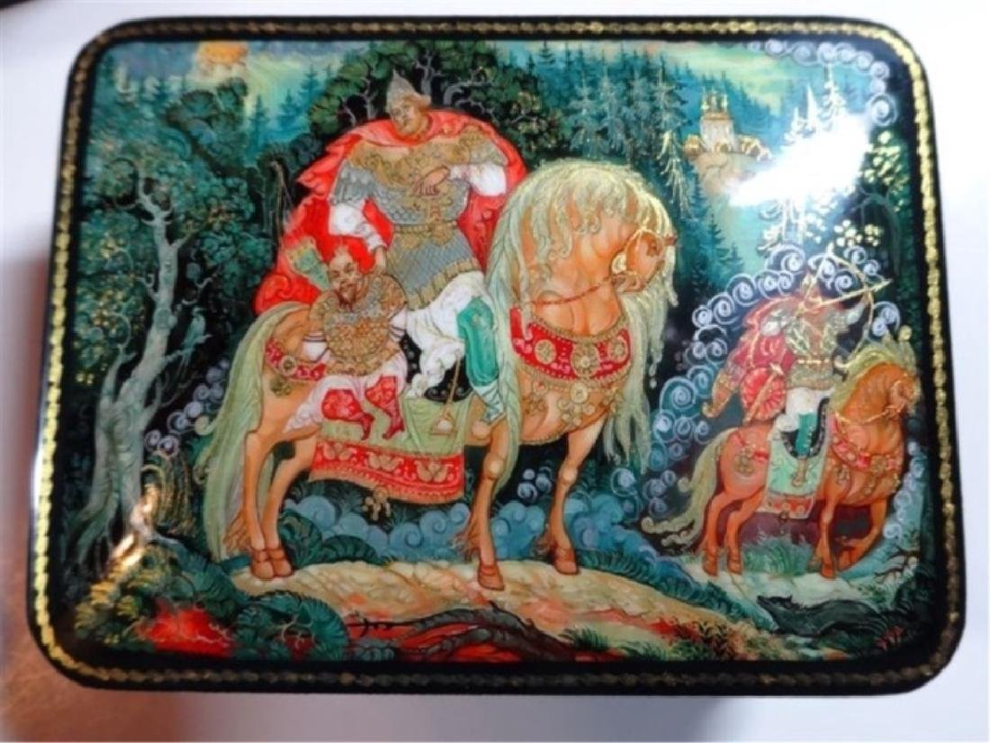 5 PC RUSSIAN HAND PAINTED LACQUERED BOXES, ARTIST - 7