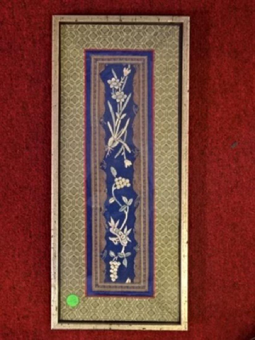 FRAMED ASIAN EMBROIDERY, FLORALS ON BLUE FIELD, VERY