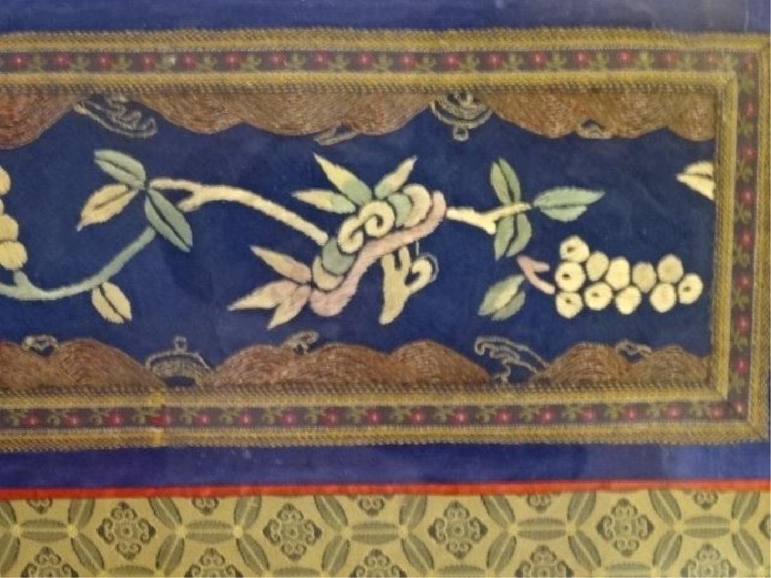 FRAMED ASIAN EMBROIDERY, FLORALS ON BLUE FIELD, VERY - 3