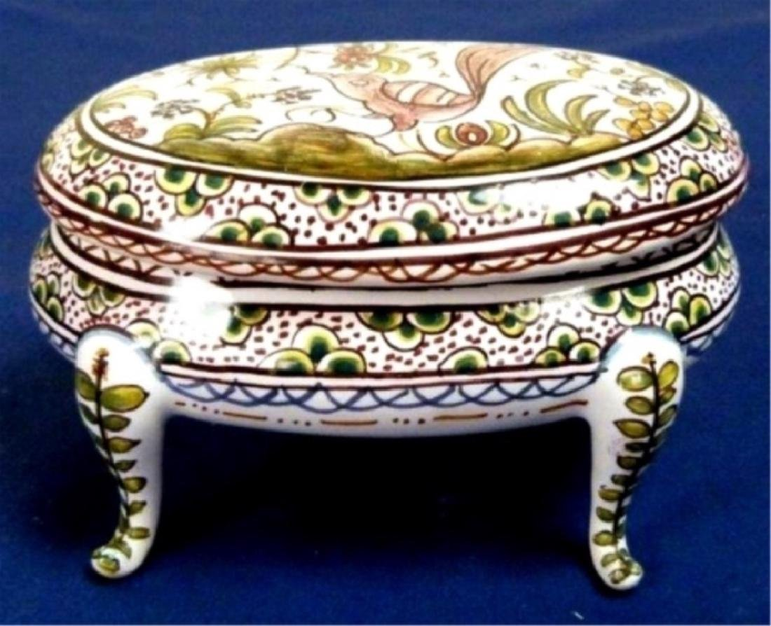PORTUGUESE PORCELAIN OVAL HAND PAINTED BOX WITH LID,
