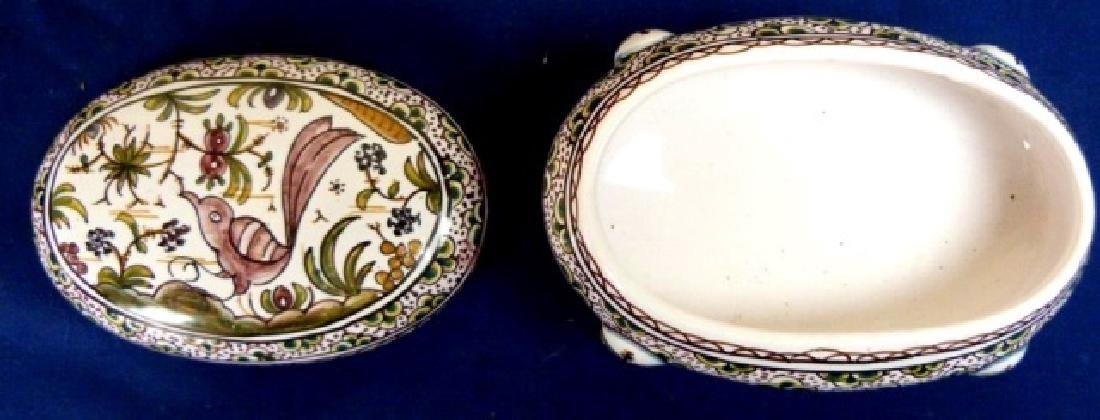PORTUGUESE PORCELAIN OVAL HAND PAINTED BOX WITH LID, - 2