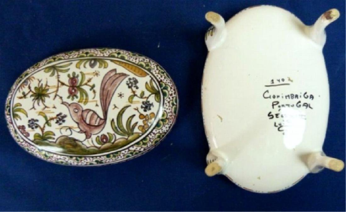 PORTUGUESE PORCELAIN OVAL HAND PAINTED BOX WITH LID, - 3
