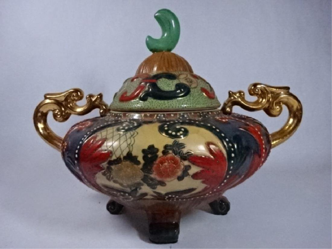 LARGE CHINESE FOOTED URN WITH LID, ELABORATE GILT - 2