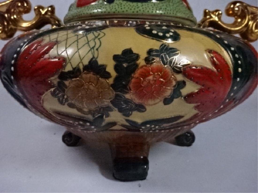 LARGE CHINESE FOOTED URN WITH LID, ELABORATE GILT - 6