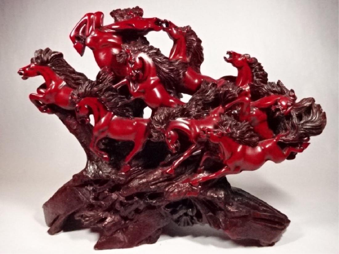 LARGE CHINESE 9 HORSES SCULPTURE, CINNABAR FINISH RESIN