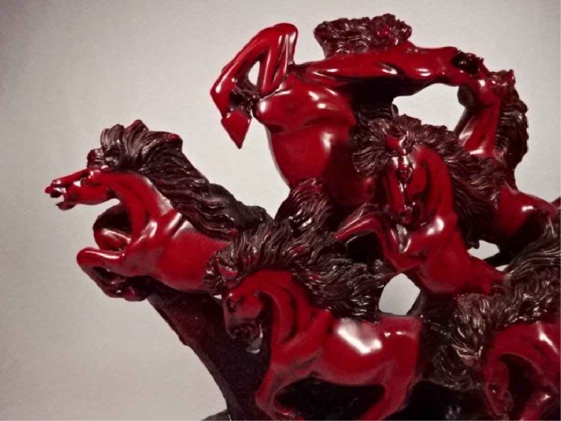 LARGE CHINESE 9 HORSES SCULPTURE, CINNABAR FINISH RESIN - 2