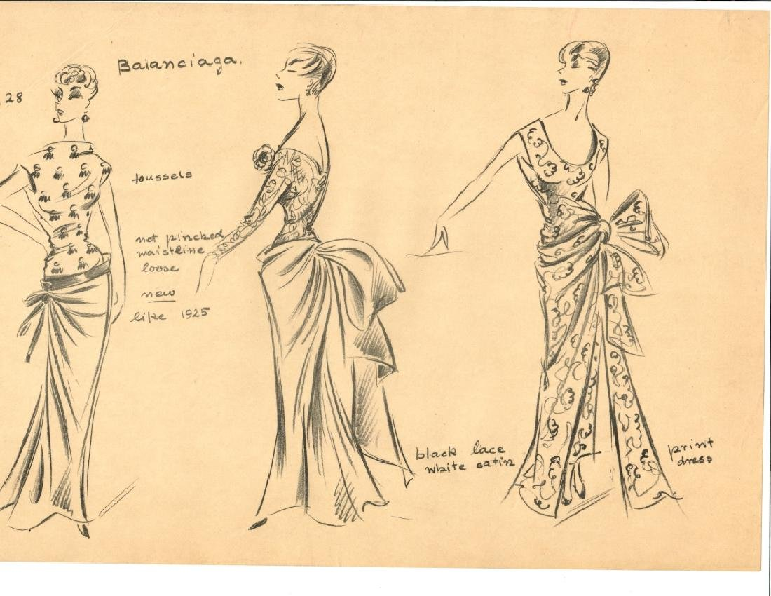 VINTAGE FASHION DRAWING, PENCIL ON TRACING PAPER, - 3