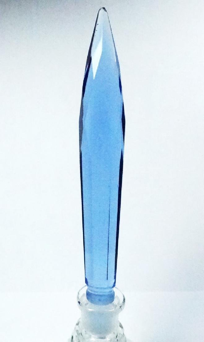 CRYSTAL PERFUME BOTTLE, CLEAR BASE WITH BLUE STOPPER, - 2