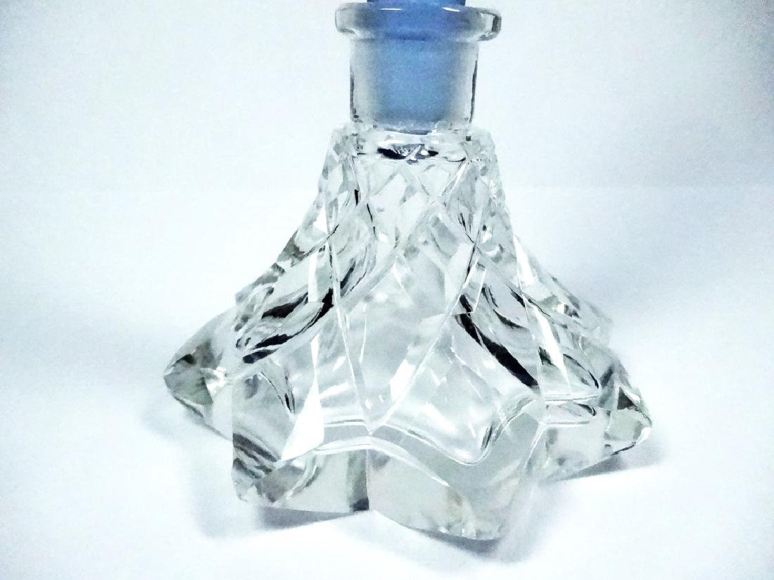CRYSTAL PERFUME BOTTLE, CLEAR BASE WITH BLUE STOPPER, - 3