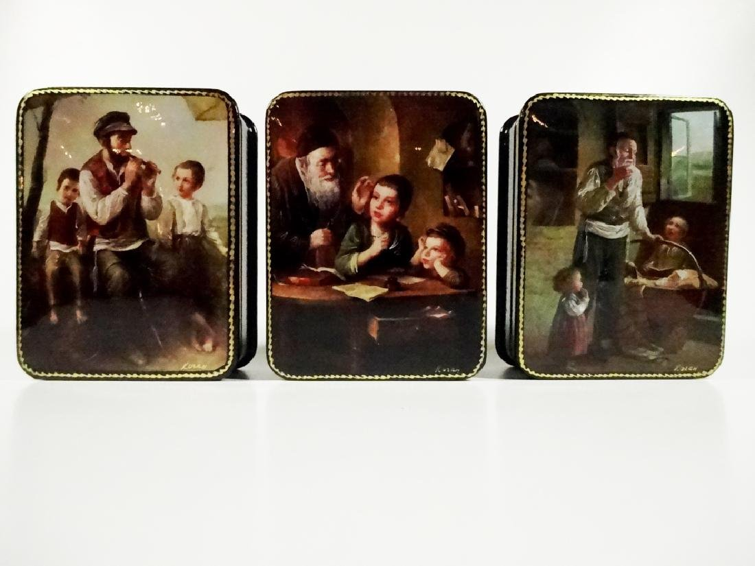 5 PC RUSSIAN HAND PAINTED LACQUERED BOXES, ARTIST - 5
