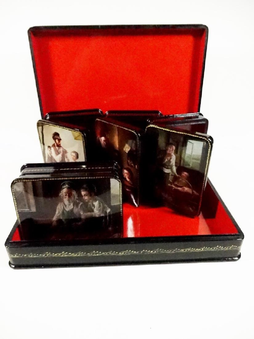 5 PC RUSSIAN HAND PAINTED LACQUERED BOXES, ARTIST - 9
