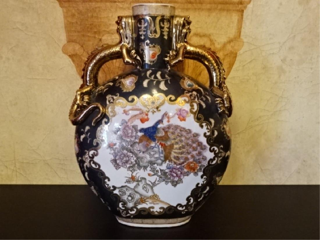 LARGE CHINESE PORCELAIN PEACOCK VASE, GILT AND PAINTED