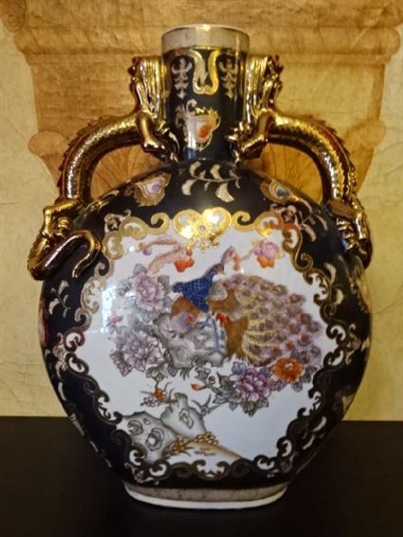 LARGE CHINESE PORCELAIN PEACOCK VASE, GILT AND PAINTED - 2