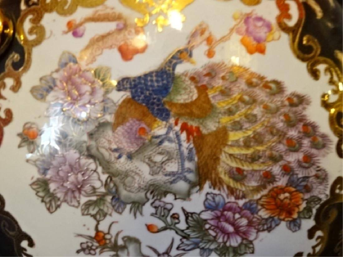 LARGE CHINESE PORCELAIN PEACOCK VASE, GILT AND PAINTED - 5