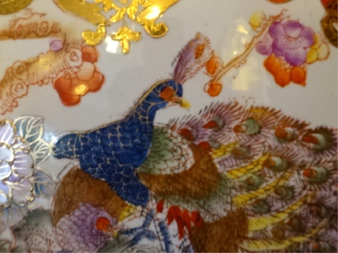 LARGE CHINESE PORCELAIN PEACOCK VASE, GILT AND PAINTED - 6