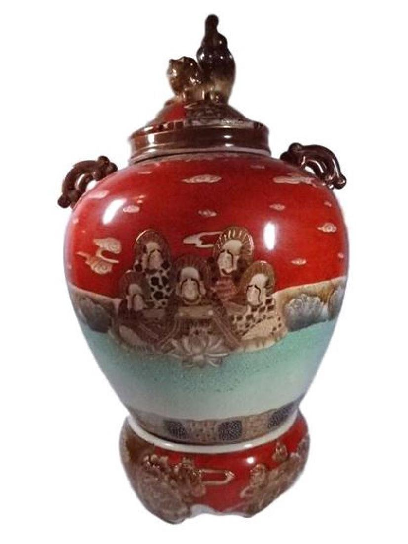 LARGE CHINESE PORCELAIN URN WITH LID, PAINTED FIGURAL