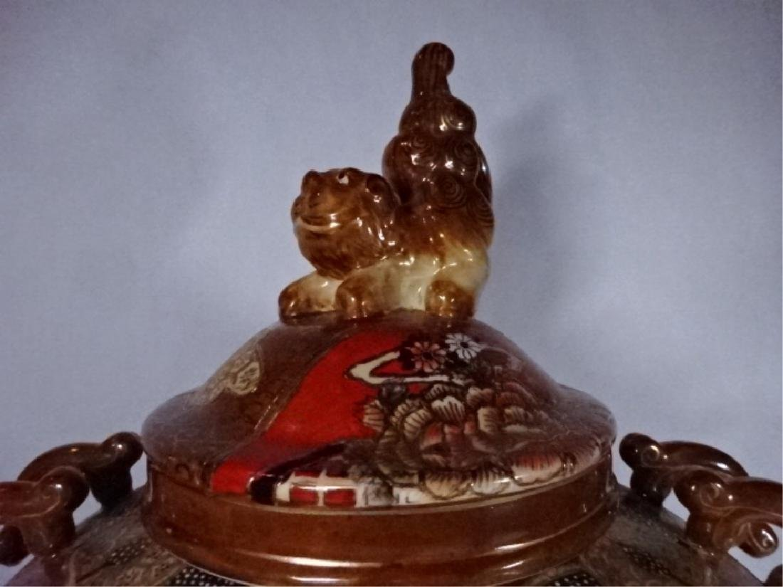 LARGE CHINESE PORCELAIN URN WITH LID, PAINTED FIGURAL - 3