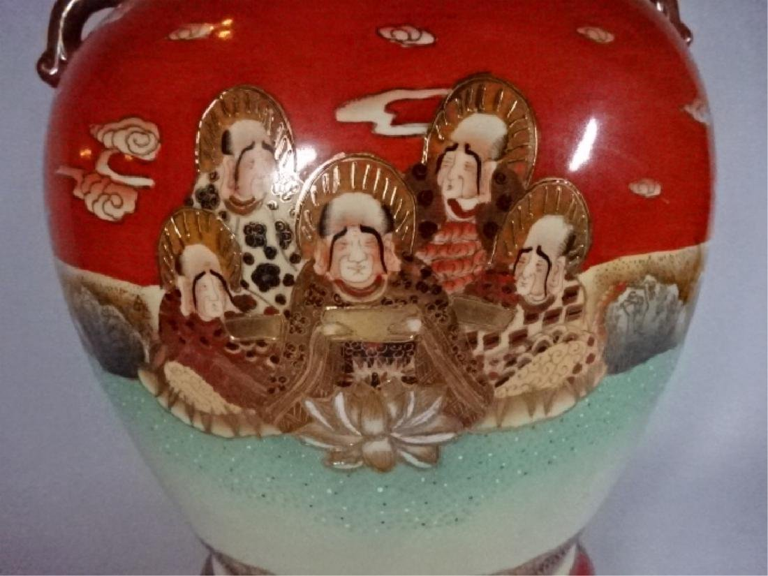 LARGE CHINESE PORCELAIN URN WITH LID, PAINTED FIGURAL - 4