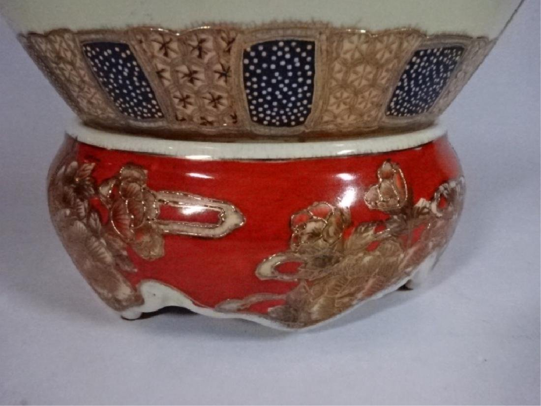 LARGE CHINESE PORCELAIN URN WITH LID, PAINTED FIGURAL - 5
