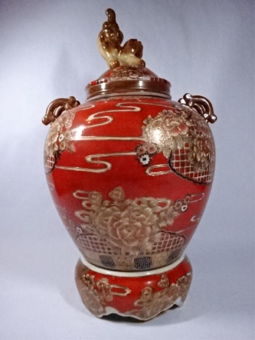LARGE CHINESE PORCELAIN URN WITH LID, PAINTED FIGURAL - 6