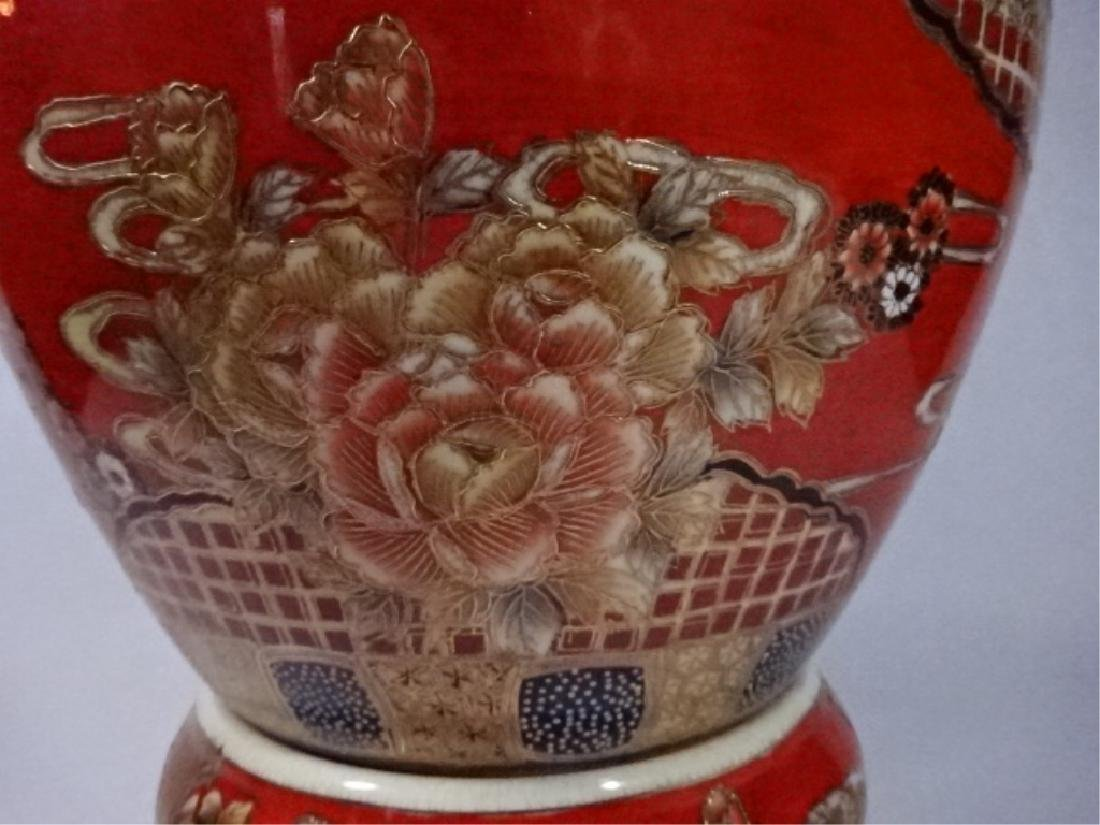 LARGE CHINESE PORCELAIN URN WITH LID, PAINTED FIGURAL - 7
