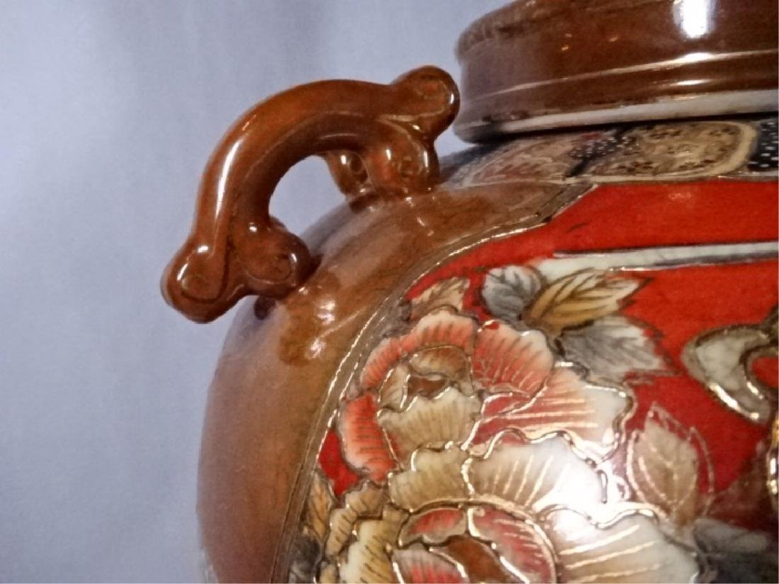 LARGE CHINESE PORCELAIN URN WITH LID, PAINTED FIGURAL - 8