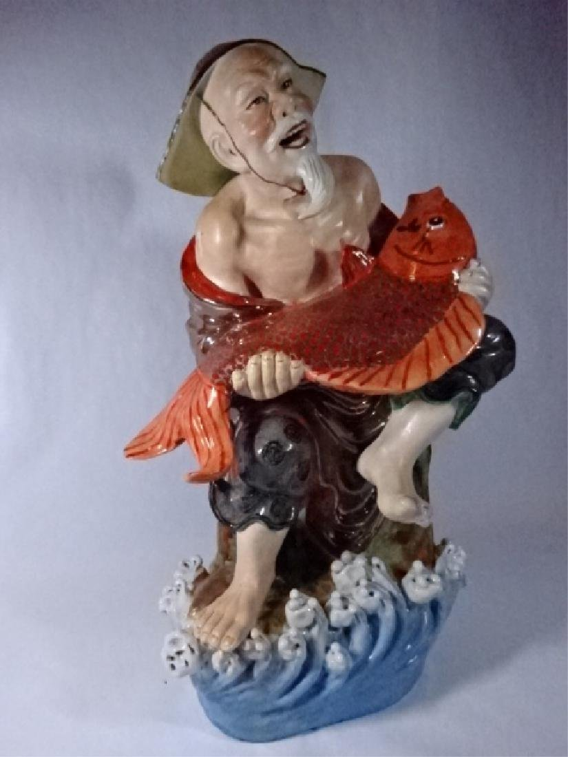 LARGE CHINESE PORCELAIN SCULPTURE, MAN WITH FISH, VERY - 5