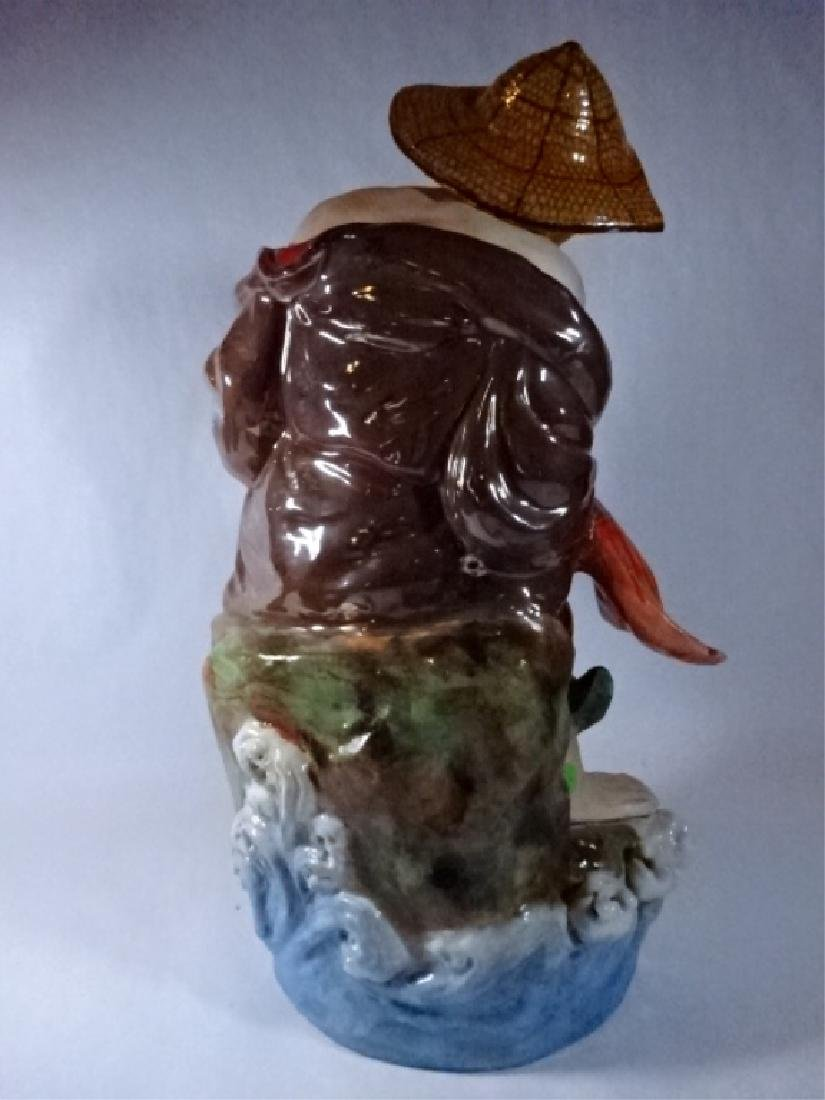 LARGE CHINESE PORCELAIN SCULPTURE, MAN WITH FISH, VERY - 6