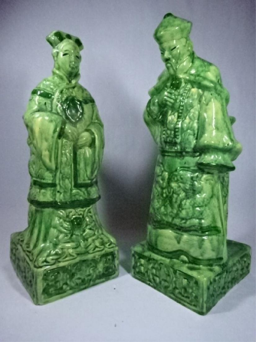2 CHINESE PORCELAIN TABLE LAMP BASES, MAN AND WOMAN